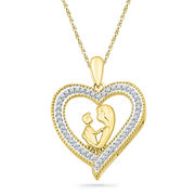 Diamond Heart Shape Pendant for Mothers and Women
