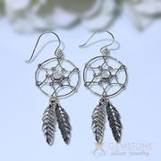 Moonstone Earring- Feather Dreams