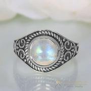 Moonstone Ring Flaming Light