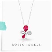 Ruby Diamond Flower Pendant