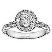 Round Cut Halo Diamond Vintage Engagement Ring - SKU: RM1503RTT