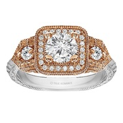 Round Cut Halo Diamond Vintage Engagement Ring - RM1539RTT