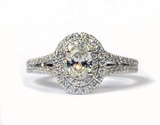 Forevermark 14K White Gold Diamond Oval with Double Halo Engagement Ri