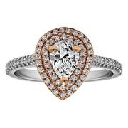 Pear Shape Halo Diamond Vintage Engagement Ring - RM1394PSTT/G7