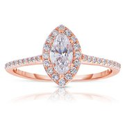 14k White Gold Marquise Cut Halo Diamond Engagement Ring - Rm1301m