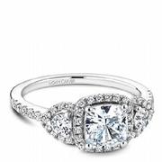 Noam Carver Cushion Three Stone Engagement Ring - Sku: Deng4645